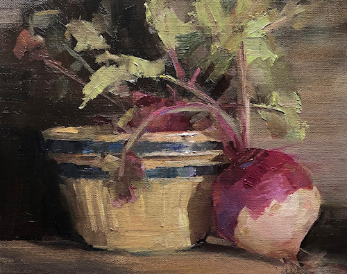 still life painting of turnips by Susan Patton