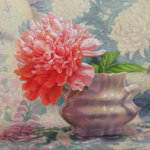 oil painting of a red flower by Barbara Fox