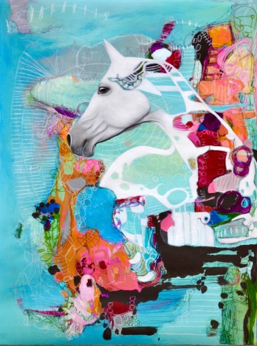 abstract/realistic horse painting by Marti Leroux