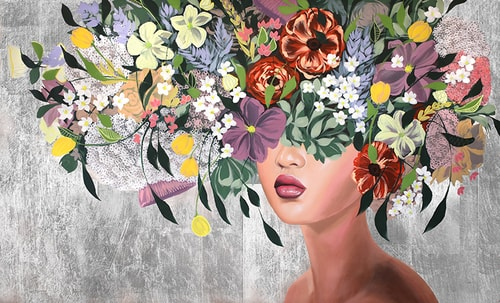 floral portrait of a woman by Sally Khoury