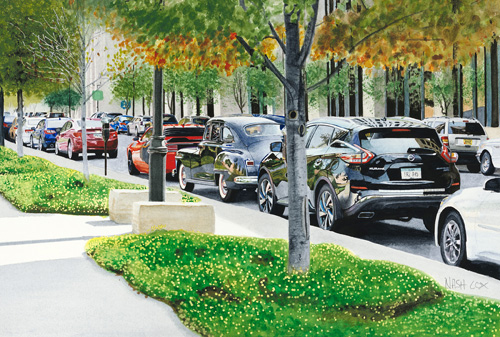watercolor of a Des Moines street by Nash Cox