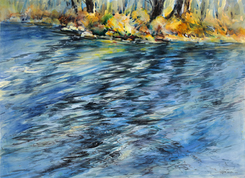 watercolor of moving water by Anne Watson Sorensen