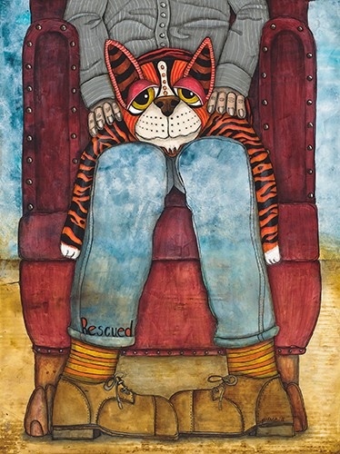 painting of a striped cat with its owner by Jennifer Steck