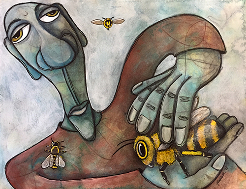 painting of a man petting a bee by Jennifer Steck