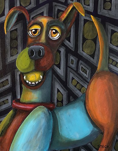 painting of a ball hoarding dog by Jennifer Steck