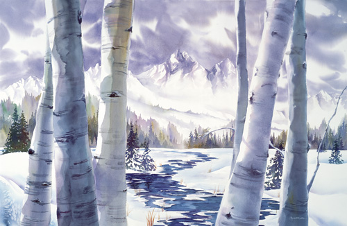 watercolor of birch trees in the snow by Anne Watson Sorensen