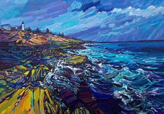 landscape painting of the coastline by Judy Hodge