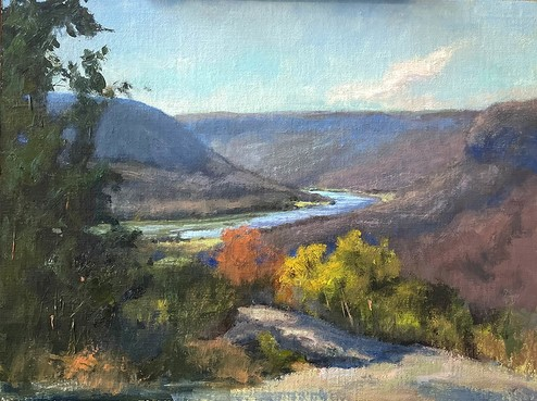 painting of the view from Mushroom Rock by Ann Currey