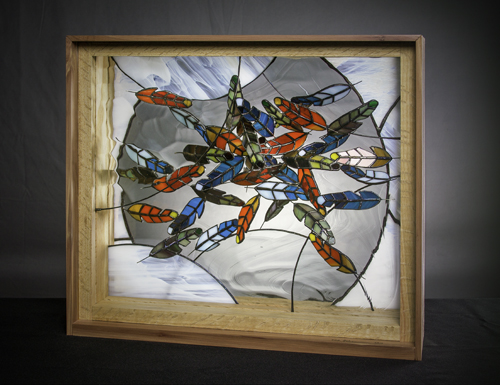 stained glass and mixed media sculpture by Edd Johannemann