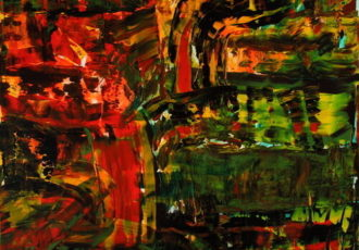 Abstract painting inspired by Wall Street volatility