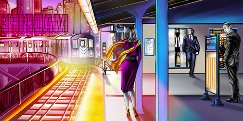 Digital art train station scene by artist Melissa Whitaker