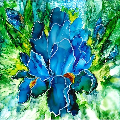 alcohol ink blue iris portrait by Linda Eader
