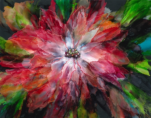 alcohol ink portrait of a red flower by Linda Eader