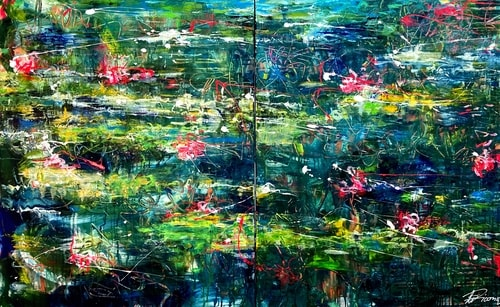 abstract floral painting by Ute Bivona