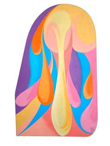 Abstract shaped canvas painting by Mark E. Weleski