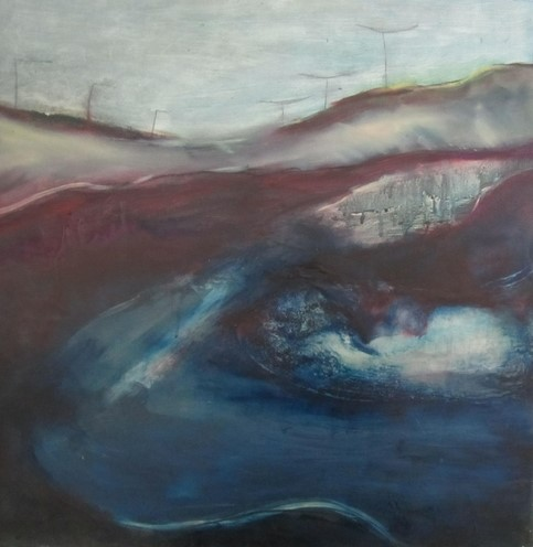abstract encaustic painting by Rosemarie Langtry