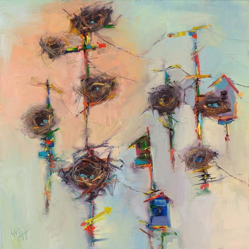 abstract painting with nests by Laura McRae-Hitchcock