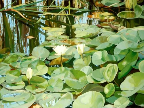 painting of a pond garden in summer by Helen Vaughn