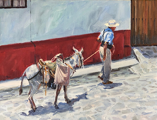 painting of a man leading a donkey by Ilse Taylor Hable