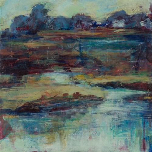 abstract landscape of a tidal creek by Laura McRae-Hitchcock