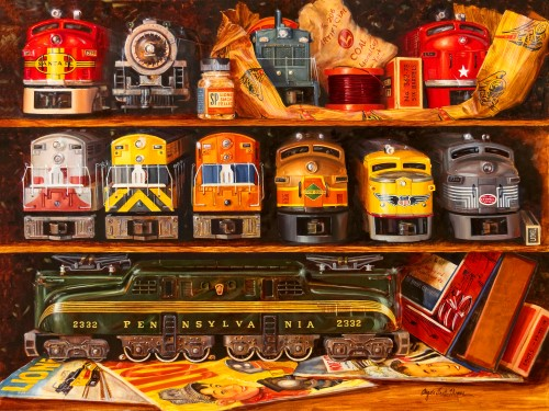 painting of Lionel Trains by Angela Trotta Thomas