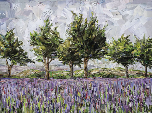 collage of lavender and olive trees by Gina Torkos