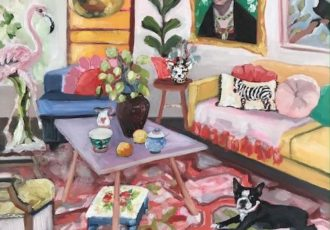 painting of an interior with a dog by Petra Pinn