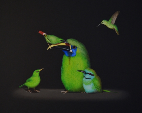 paintig of different green birds by Isabelle du Toit