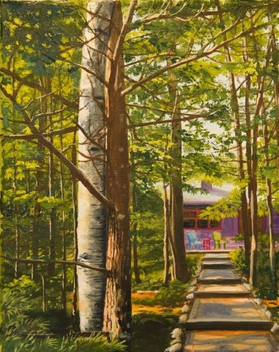 painting of a path in the forest by Sandra Cashman