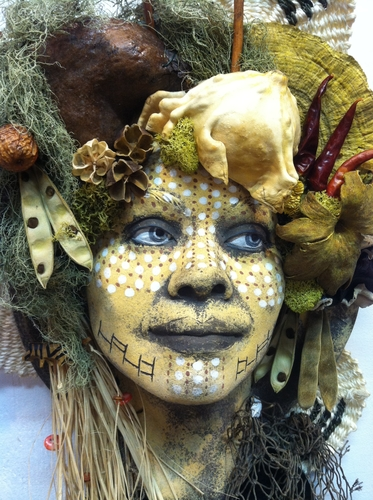 tribal clay life masks by Rebecca Love