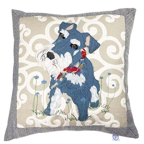 fabric collage pet portrait by Sarah Wiley