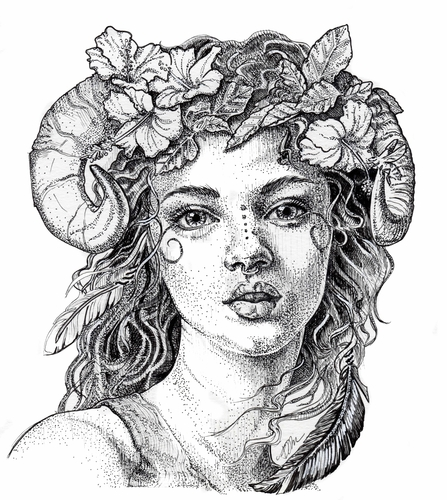 pen and ink drawing of a faun by Julie Peterson-Shea